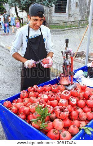 Pomegranate vendor