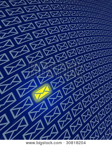 Internet Email Icons With One Highlighted