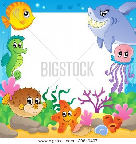 Frame with underwater animals 2 - vector illustration.