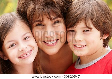 Hispanic grandmother and grandchildren