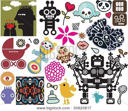 Mix of different vector images. vol.45