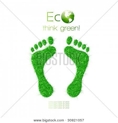 Green footprint made from grass. Think Green. Ecology Concept. Vector Illustration.