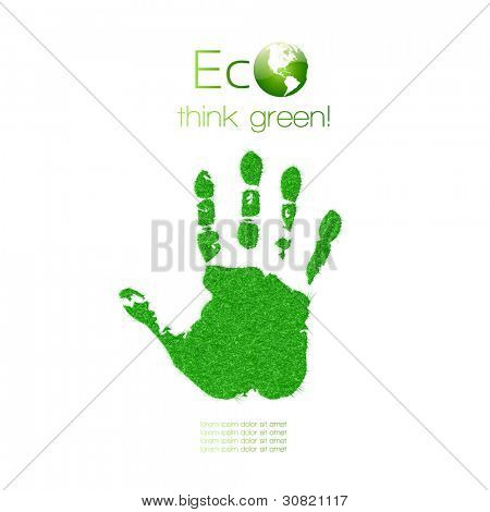 Green handprint made from grass. Think Green. Ecology Concept. Vector Illustration.