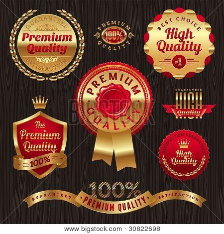 Set of golden quality labels and emblems