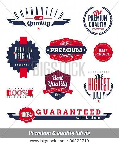 Set of premium & quality labels and emblems