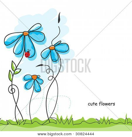 Vector cute flowers and ladybug