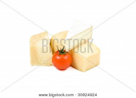 Three Types Of Cheese And Cherry Tomato