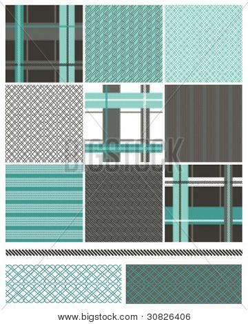 Contemporary Seamless Vector Patterns.  Ideal for patchwork quilt pieces.  Great on textiles to give a clean modern look for any bachelor pad.