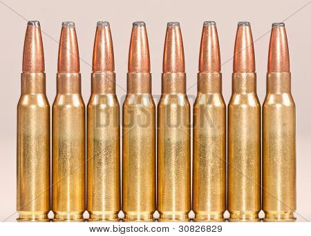 Straight Row Of Rifle Bullets