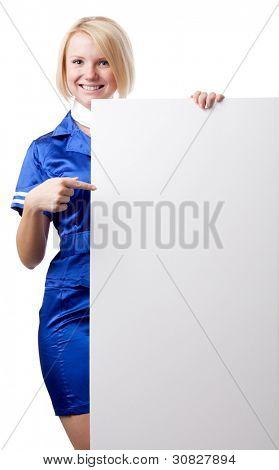 Beautiful stewardess with blank placard