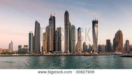 Skyscrapers in Dubai Marina at sunset
