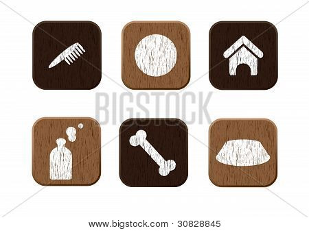 Pet shop wooden icons set vector