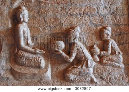 Buddha Bas Relief With Offerings