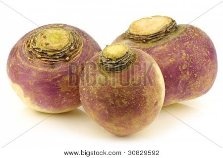 fresh turnips on a white background
