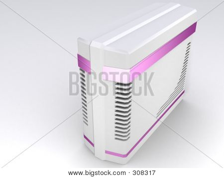 White Pc With Purple Strip