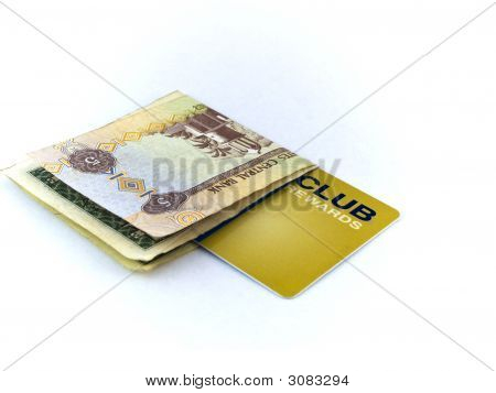 Five Dirham Note And Gold Membership Club Card On White Background