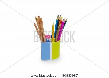 Pencils And Holder Isolated On White Background