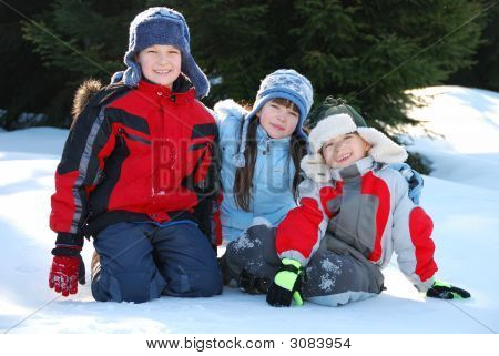 Three Children In Snow