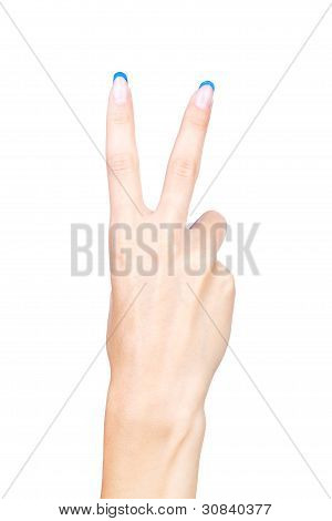 Hand Showing Two Fingers