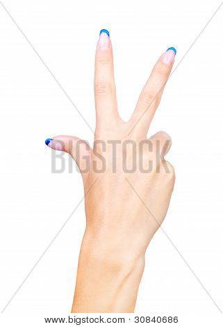 Hand Showing Three Fingers