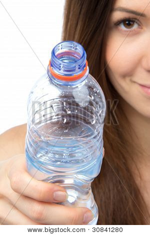 Woman Give Drinking Bottle Of Water