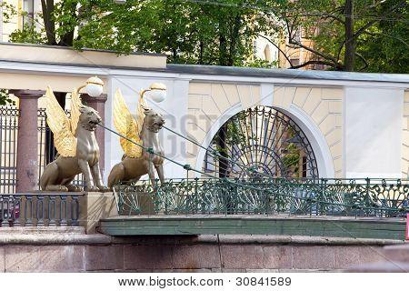 Russia. Saint petersburg. Bank bridge. Sculptures of Griffons.
