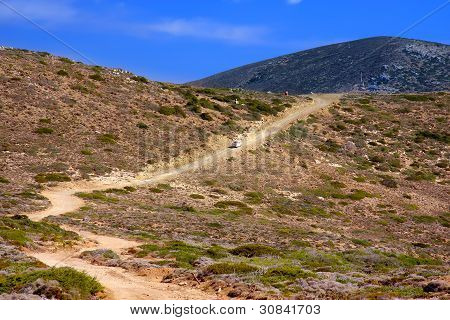 dirt road on a mountain slope. Greece. Rhodes
