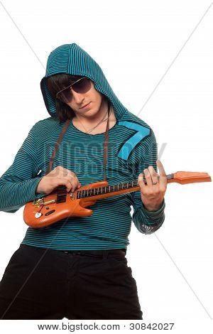 Young Man In Sunglasses With A Little Guitar