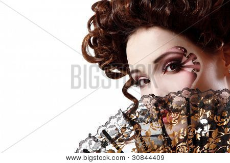 portrait of beautiful halloween woman vampire baroque aristocrat over white