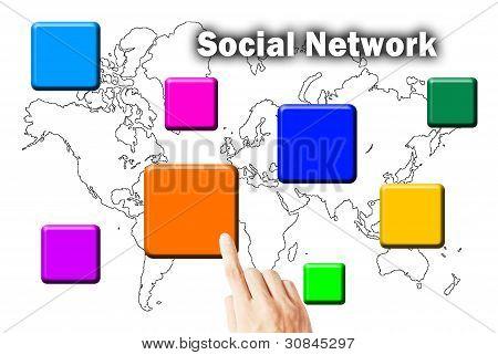 Hand Press Social Network