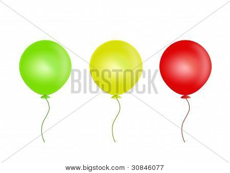 Three balloons isolated on white background