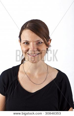 Attractive Woman Smiling And Looking Serious