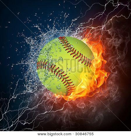 Bola de béisbol en el fuego y el agua. Gráficos 2D. Diseño de la computadora.