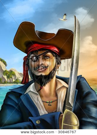 Portrait of a male pirate on a seascape at sunset. Digital hand painted illustration.
