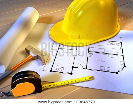 Un proyecto para una nueva casa con un martillo, un metro de cinta y un casco de seguridad. Ilustración digital.