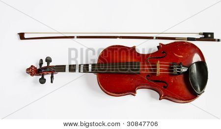 old violin isolated on white, Isolated with Clipping Path