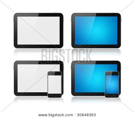 Digital Tablet With Mobile Smart Phone Set