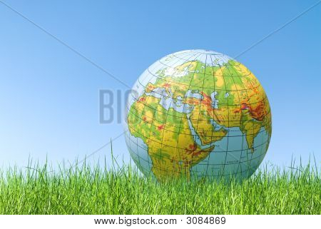 Planet Earth Balloon Over Grass