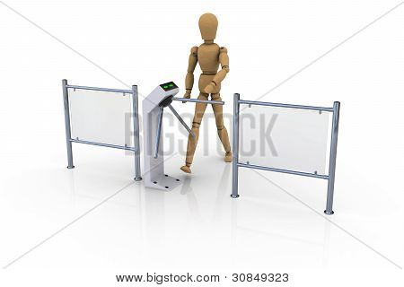 wooden man in front of an open white turnstile