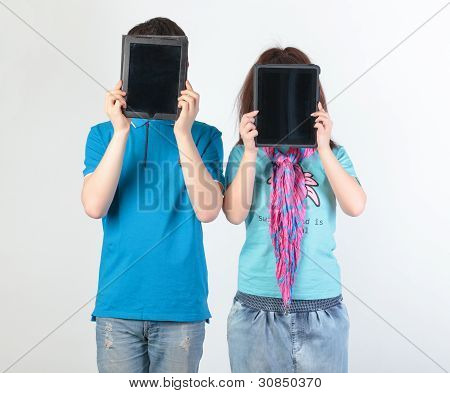 A Young Couple With A Tablet Pc