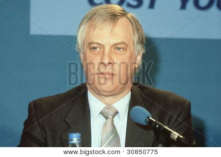 LONDON - APRIL 10: Rt.Hon. Christopher Patten, Chairman of the Conservative party, attends a press conference on April 10, 1991 in London. In July 1992 he became the last Governor of Hong Kong.