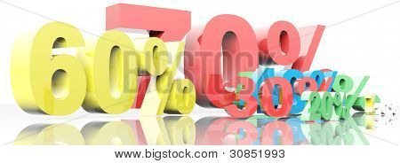 3d render of percent set. Isolated on white background