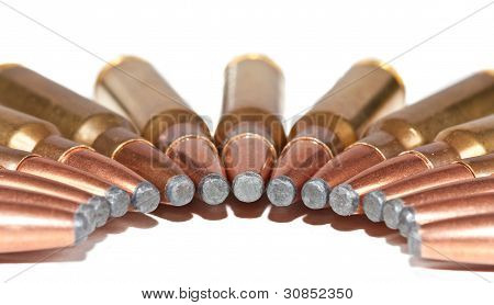 Rifle Bullets Packed In A Half Moon