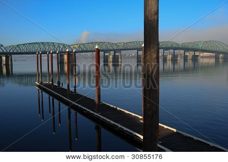 Pier looking toward bridges over Columbia River