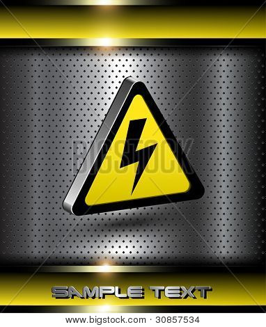 Background with 3d high voltage danger icon.