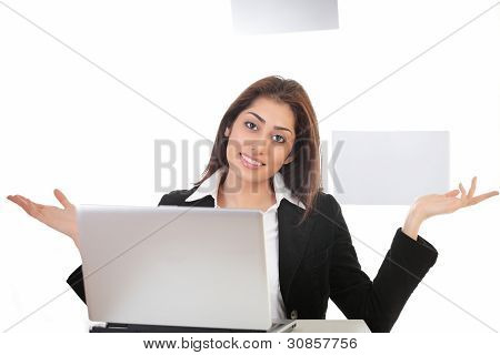 Girl On Laptop Gesturing