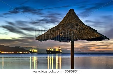 View on the Aqaba gulf(Red Sea) from a coastal restaurant in Eilat, Israel