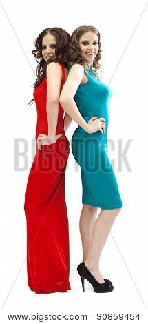 two fashion women smoky eyes posing on camera