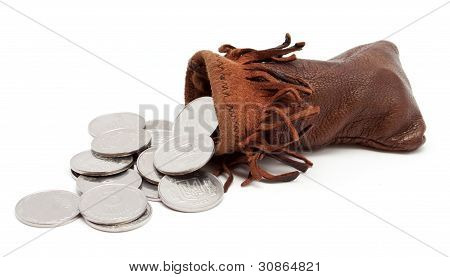 The Coins Falling Out From The Pouch