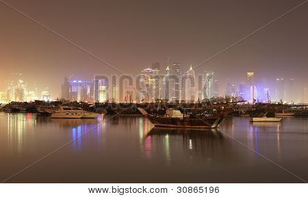 Doha Skyline At Night, Qatar